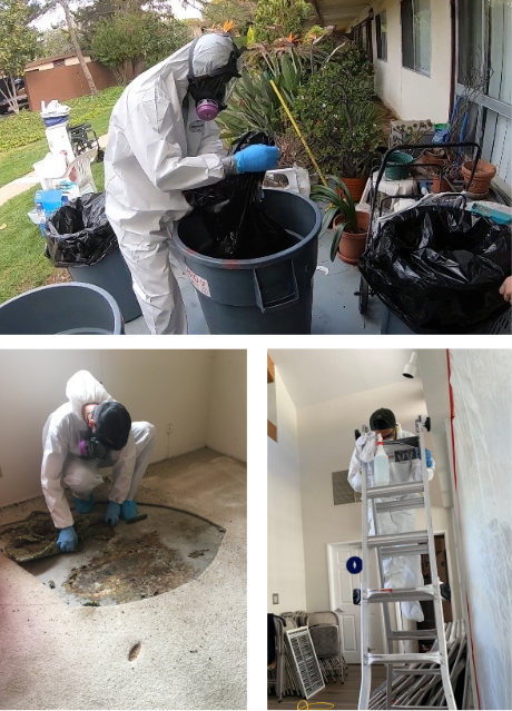 three pictures of people in white hazmat suits performing biohazard cleanups